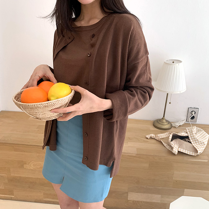 Normal unbal round cardigan